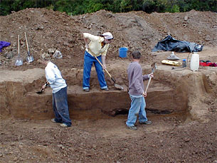 Crew excavating feature at the Visitor's Center.