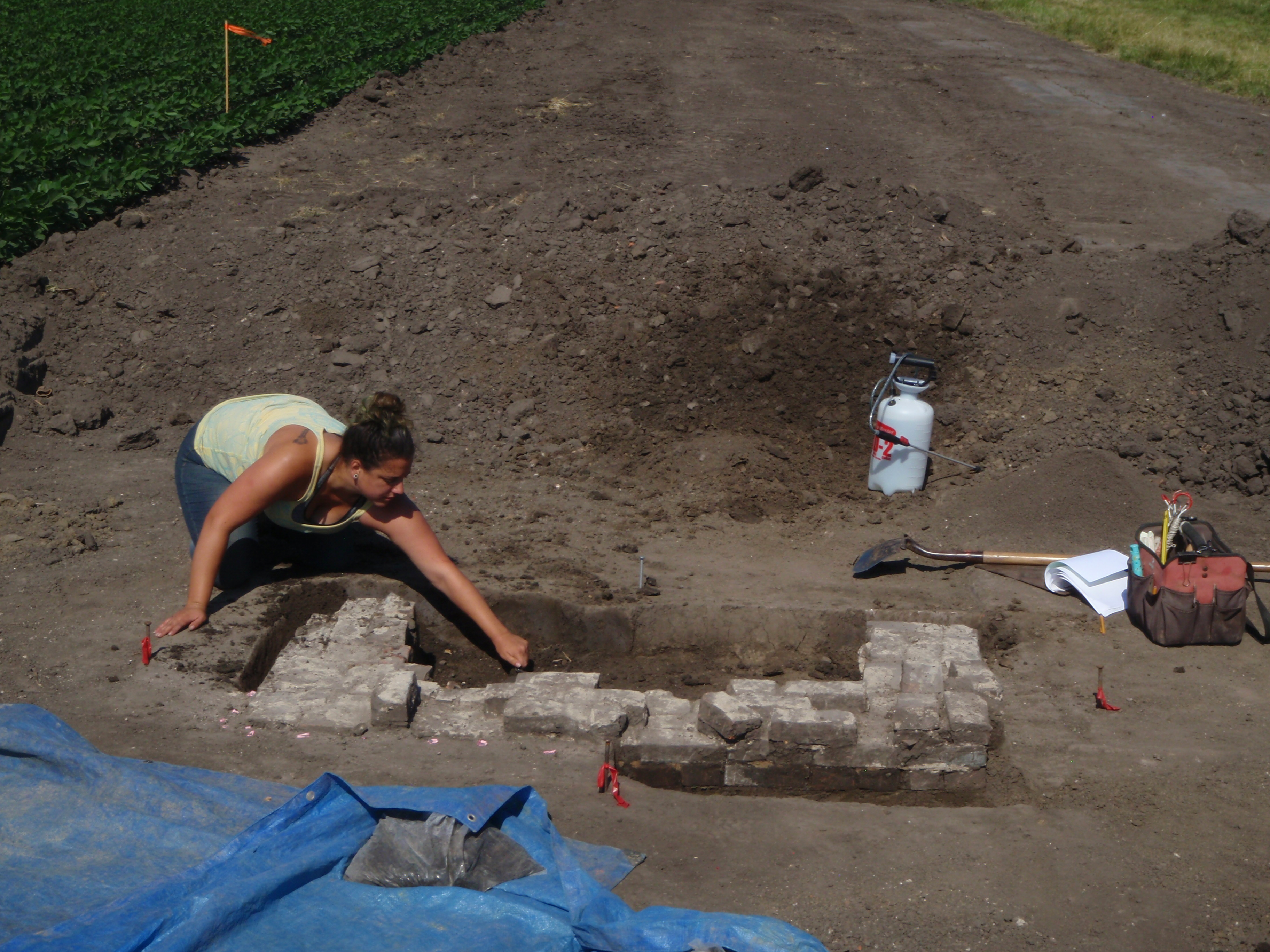 Excavation of Brick Fireplace Foundation