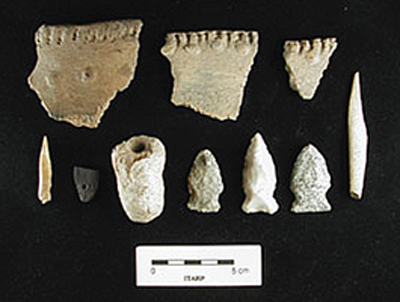 Late Woodland ceramic rims and lithic tools