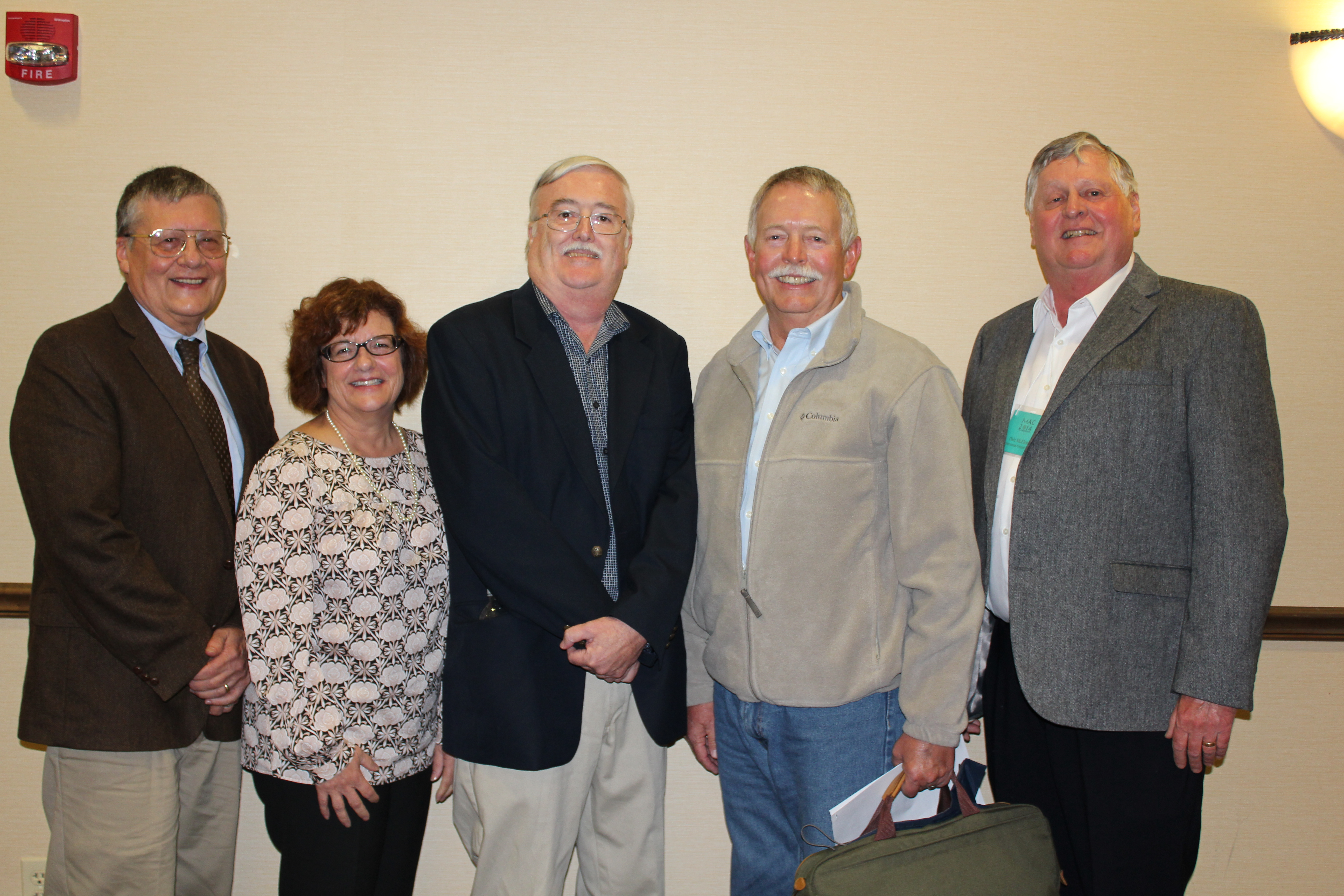 Dr. Thomas E. Emerson, Anne Haaker, Dr. Andrew C. Fortier, Len Stelle, and Dale McElrath (left to right)