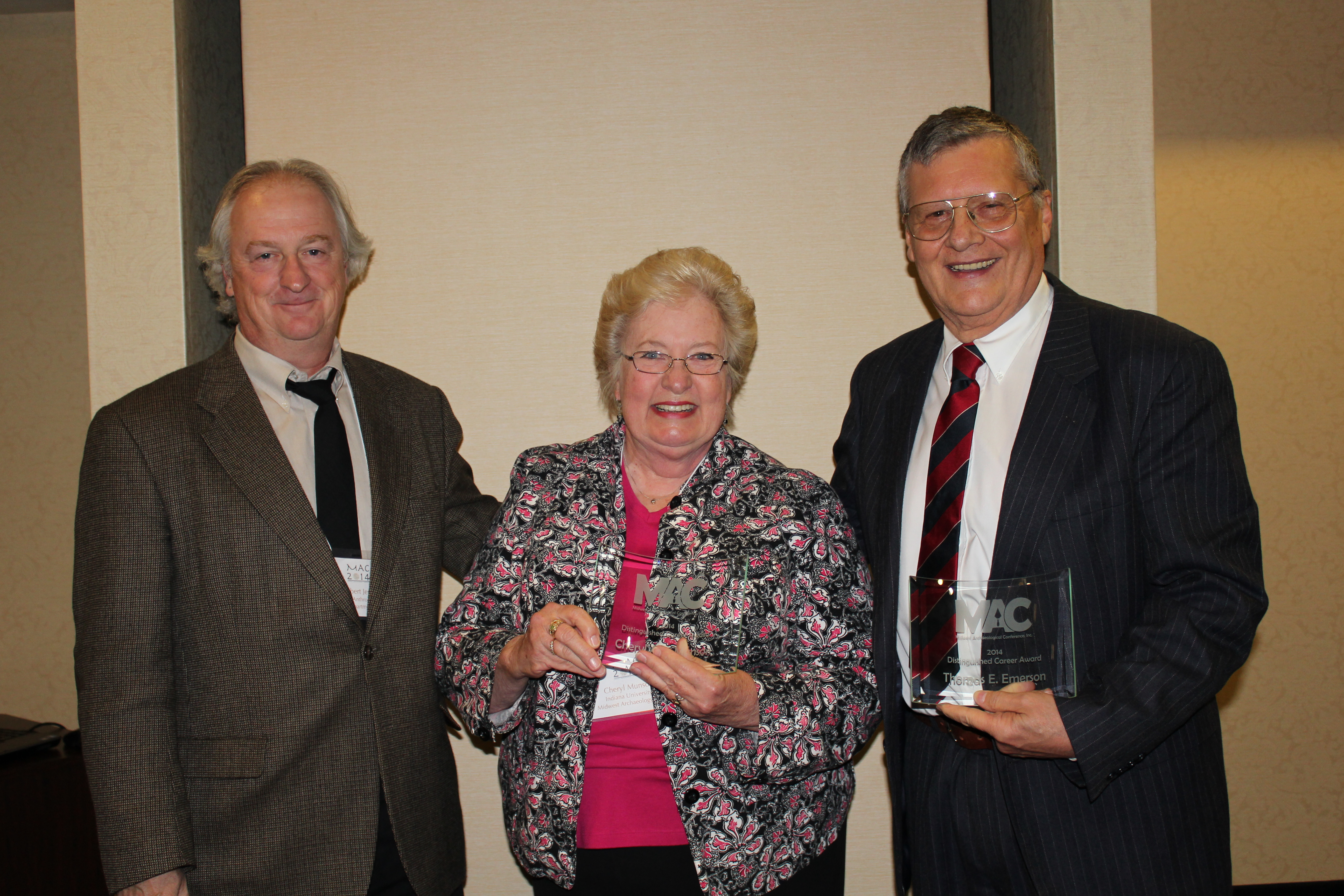 Dr. Robert Jeske, Cheryl Munson, and Dr. Thomas E. Emerson (left to right)