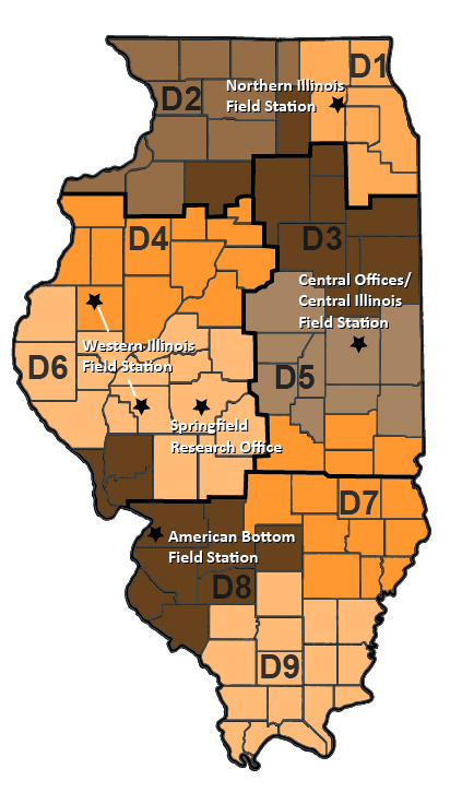 Map of ISAS locations in Illinois