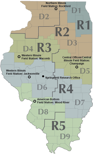 IDOT Regions and Districts map