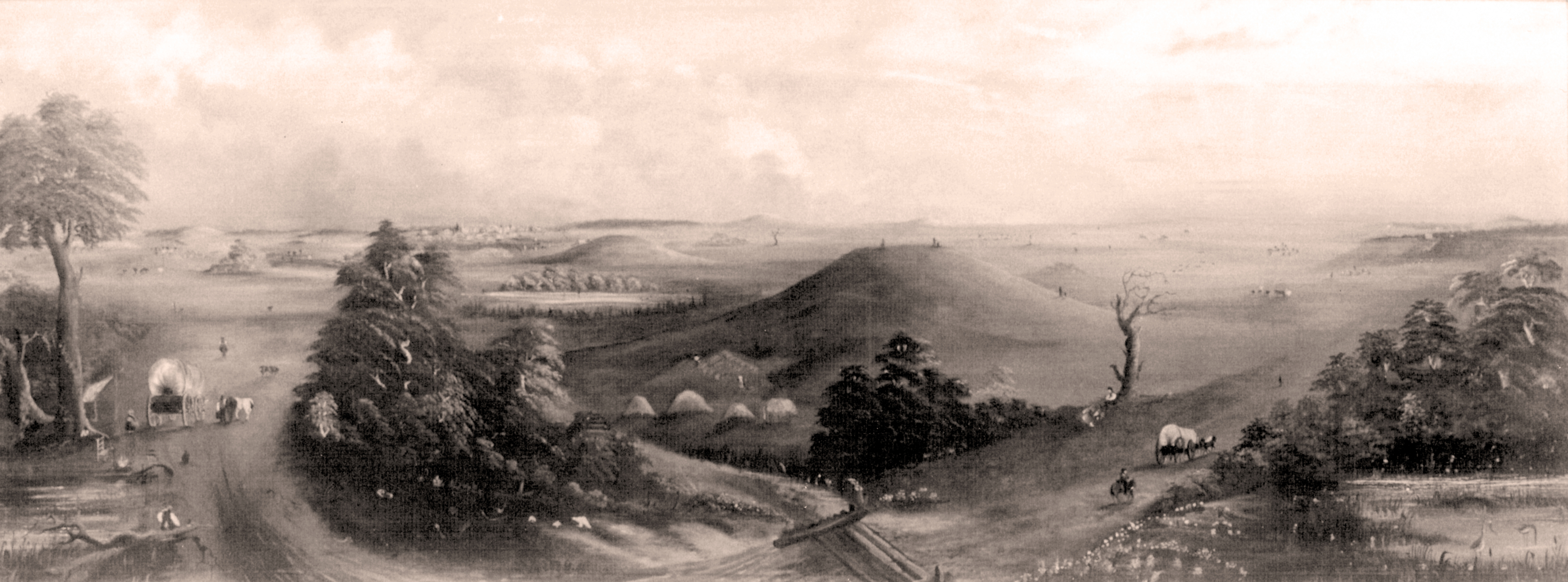 19th Century watercolor painting of the East St. Louis Mound Center