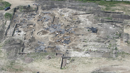 Aerial view of archaeological investigations for relocated I-70 in East St. Louis
