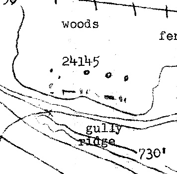 Original sketch map of the site indicating mounds